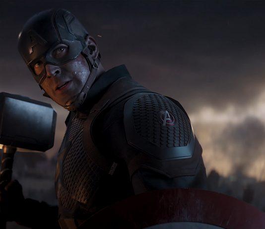 Captain America aka Steve Rogers played by Chris Evans wielding Thor's Hammer aka Mjolnir in Avengers: Endgame