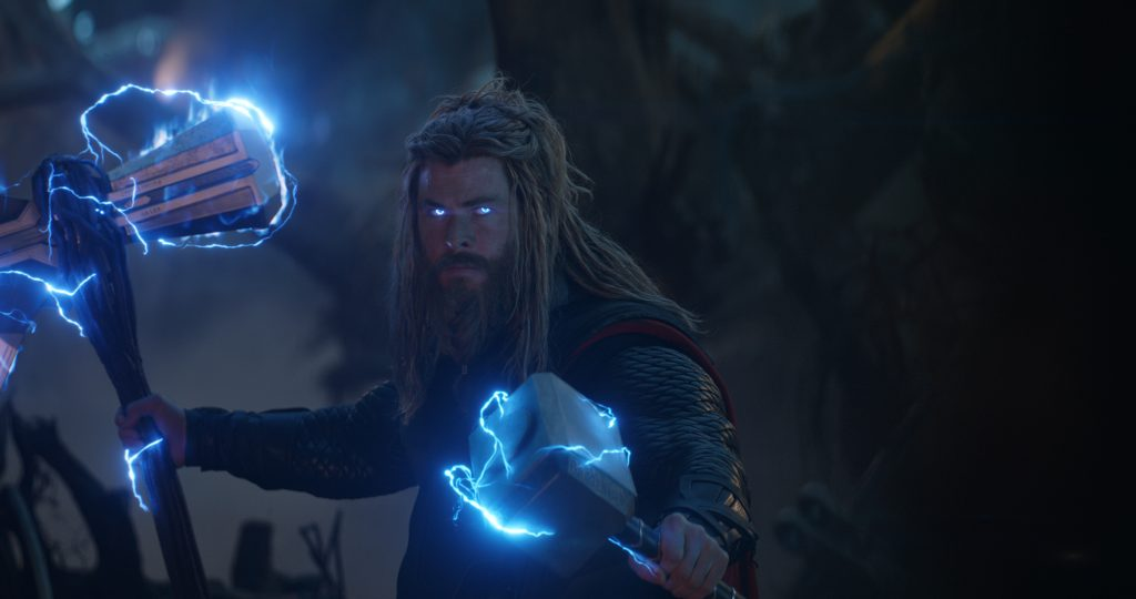 Thor Odinson in Avengers: Endgame getting ready for a fight with Thanos